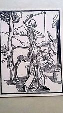 Hans Holbein original the praise of folly woodblock 1850 Death on the donkey