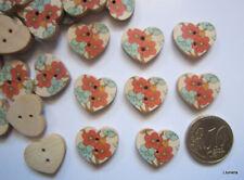 Botón madera corazón 17 mm X 20 UNIDADES flores scrapbooking costura