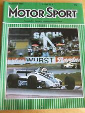 MOTORSPORT MAGAZINE SEP 1981 GORDON MURRAY LOTUS TURBO ESPRIT ALFA ROMEO PEUGEOT