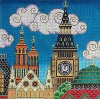 Needlepoint Handpainted Amanda Lawford LONDON Big Ben 10x10