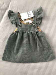 BNWT ZARA BABY GREY BUTTONED FLANNEL PINAFORE DRESS 9-12 MONTHS!