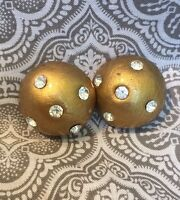 Stunning Vintage Gold Tone Rhinestone Ball Clip Earrings #42