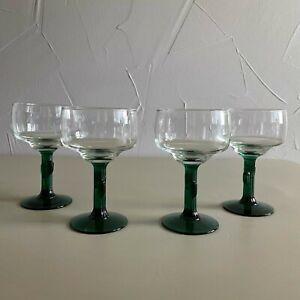 4 - Vintage Margarita Glasses Libbey Cactus Green Stemware Cocktail Glasses Lot