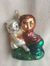 Radko Snuggle Buddies 971690 Ornament Boy Hugging Kitty Cat Child Kid Spring