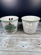 Pair Spode CHRISTMAS TREE Cup Votive Candle Holder Made In England S3324-A1