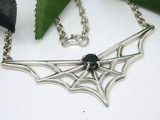 Spinnennetz Stilisiert Collar Plata 925 Circonia Gótico Negro
