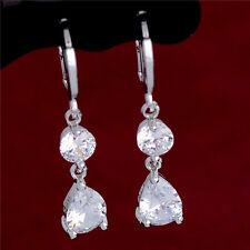 Hot Sale Waterdrop cubic zirconia 925 Silver Plated Womens  Drop Earrings