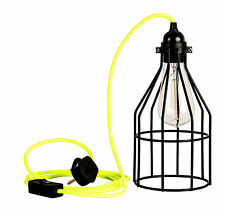 Black Cage Guard Industrial Retro Light Ceiling Lamp Neon Fluroscent Cable