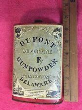 Dupont Superfine Fg Gunpowder Old Can Tin Black Powder Delaware 1924