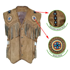 Men's Western NATIVE AMERICAN Coat Style Leather Vest with Fringes, Bones & Bead