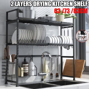 63CM/83CM Over Sink Double Layers 304 Safety Stainless Steel Kitchen Shelf