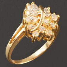 Brilliant, Solid 14K Yellow Gold & .65 Carat Diamond Cluster Estate Ring