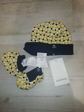 Catimini T1 1 Month Hat And Booties Set Yellow And Navy Baby Girls NWT