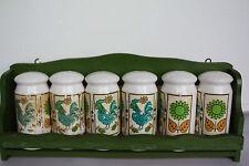 Retro Wooden and Ceramic Spice Rack Set