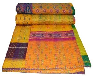 Handmade Patola Kantha Embroidery Twin Blanket Throw Indian Bedspread