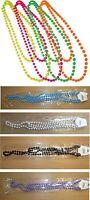 Fancy Dress Neon plastic Beads long Necklace 70's & 80's theme, costume.