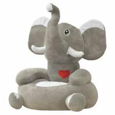vidaXL Silla de Peluche para Niños Elefante Gris de Superficie Antideslizante