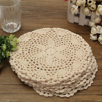 12Pcs 8'' Round Hand Crochet Doilies Cotton Doily Coaster Applique Table Mat