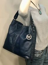 MICHAEL KORS Uptown Astor Dark Blue Leather Shiny Nickel Studded Large Hobo