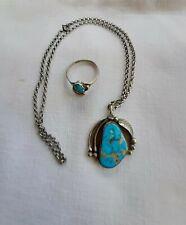 Indianerschmuck Ring und Kette mit Anhänger,Silber,Türkis