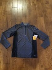Mens Champion Sz S Duo Dry 1/4 Zip Black/Gray Striped Shirt Nwt