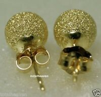 Sparkling Solid 14K Yellow Gold 5mm Laser BALL Stud Earrings