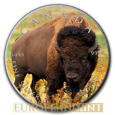 2016 1oz $5 Canadian 9999 Fine Silver Maple Bison Wild Life Colorized Antique