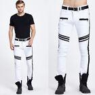 Men's Fashion Casual Zip Designer Skinny Pants Slim Fit Straight Pencil Trousers