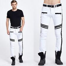 Herren Weiß Jeans Denim Hose Straight Hose Herrenjeans Vintage Skinny Hose 28-38