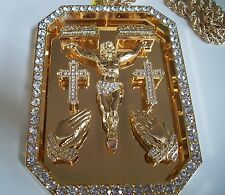 Gold Finish Hip Hop bling Cross,Last Supper,Jesus etc(Religious)Pendant/Chain