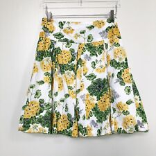 Anthropologie Odille Womens Skirt Yellow Green Floral Pleated Fit & Flare Lined