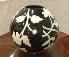 Small Black & White Floral Vase, Painted Flowers Pot Rustic