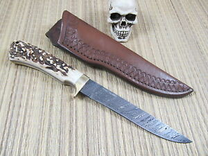 Peru Island Custom Damascus Fighter / Bowie With Gorgeous Stag & Leather Sheath