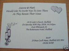 5 personalised renewal of wedding vows invitations with envelopes hearts champ