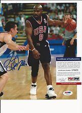 TIM HARDAWAY TEAM USA BASKETBALL SIGNED COLOR 8X10  PSA COA U79473