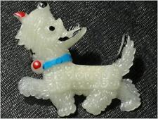 50 mm Vintage Czech Bohemian glow in the dark Scottie dog plastic pin brooch