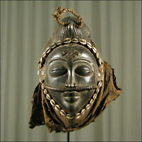 59238) Afrikanische Punu Holz Maske Gabun Afrika KUNST
