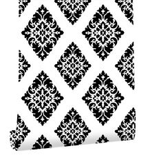 Peel & Stick Victorian Damask Self Adhesive Wallpaper Black/White Contact Paper