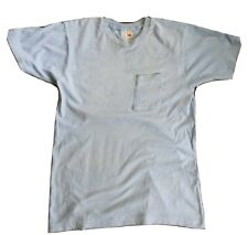 New listing Destroyed Paper Thin Vtg Blue Single Stitch Blank T-Shirt Sun Faded Grunge M