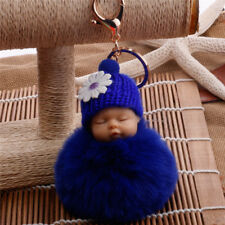Cute Sleeping Baby Key chains Doll Rabbit Fur Fluffy PomPom Bag Decor Keyrings T