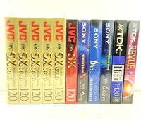 Lot of 11 JVC, TDK, and Sony T-120 Blank VHS Tapes 6 Hours Brand New Sealed