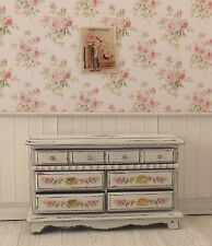 Dollhouse Miniature Shabby Chic Long Dresser Cream Off White Floral Decals Chest