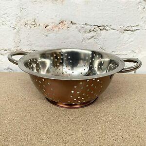 Copper Stainless Steel Metal Food Pasta Spaghetti Colander Strainer W/ Handles