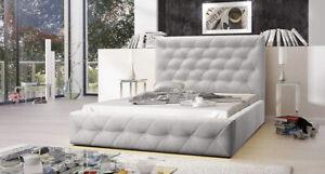 Polsterbett Doppelbett Bettkasten Grau 180x200 Gesteppt Lattenrost Glamour