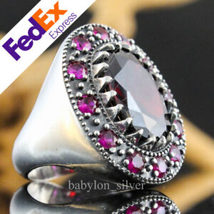 Turkish Handmade 925 Sterling Silver Ruby Luxury Men's Ring All Sizes