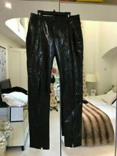 Zara Faux Leather Crocodile Print Black Trousers Size S