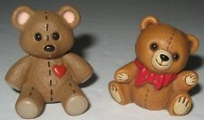 Two Teddy Bears Hallmark Figurines 1982 Bow Tie 1989 Red Heart Vintage Miniature