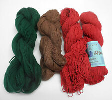 Altenburger Wollspinerei Yarn - 4 Skeins: 2 Red Cotton/Green Brown Wool  Germany