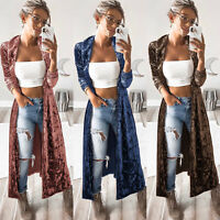 Women Velvet Maxi Cardigan Long Sleeve Open Front Loose Duster Coat Retro Jacket