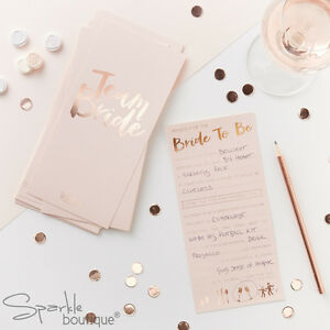 'TEAM BRIDE' ADVICE CARDS -Hen Night Guest Book Alternative/Party Game-Pink/Rose
